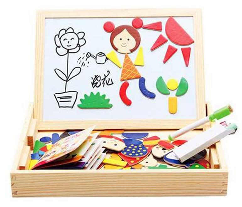 Bảng ghép hình bằng gỗ gắn nam châm cho bé