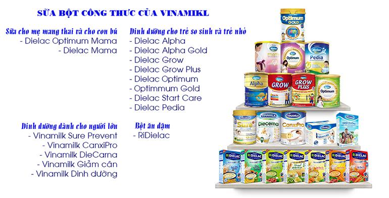 các loại sữa bột công thức của Vinamilk