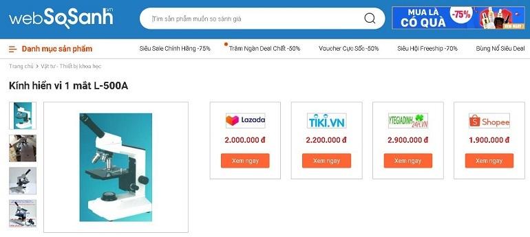 So sánh giá vật tư - thiết bị khoa học tại Websosanh.vn