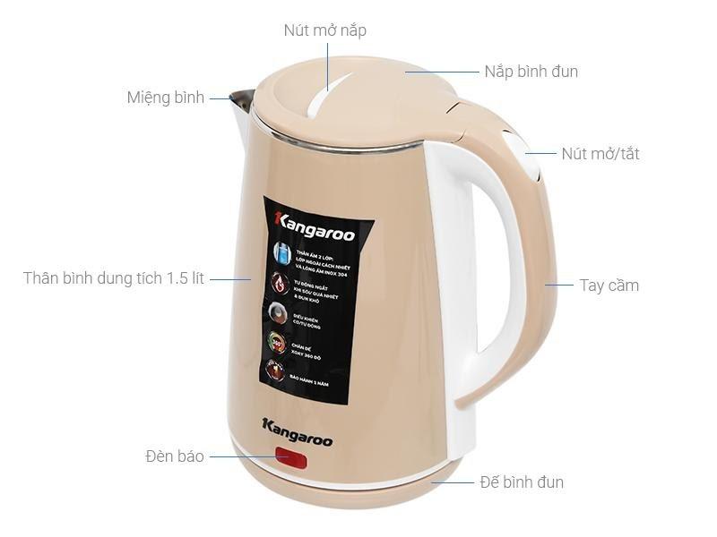 Ấm đun nước Kangaroo 1.5 lít KG-18K1