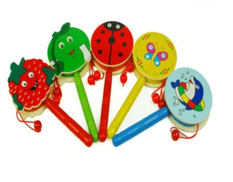 Đồ chơi cho trẻ sơ sinh trống gỗ cầm tay