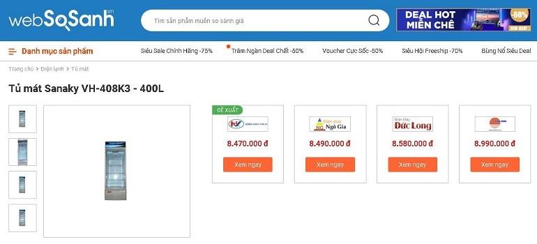 So sánh giá tủ mát tại Websosanh.vn