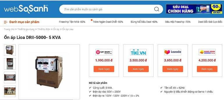 So sánh giá ổn áp tại Websosanh.vn