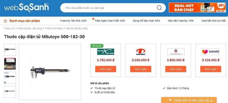 so sánh các nơi bán máy đo dày mỏngtại Websosanh.vn