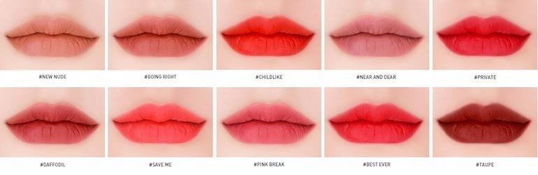 Swatch và review son 3CE Velvet Lip Tint