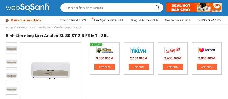 So sánh giá bình tắm nóng lạnh tại Websosanh.vn