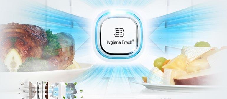 Hệ thống kháng khuẩn Hygiene Fresh giúp tủ lạnh LG luôn sạch mùi, thoáng mát