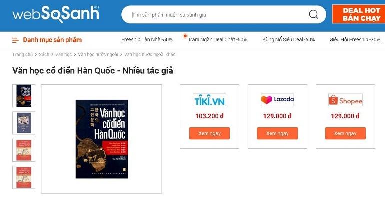 so sánh giá tuyển tập văn học bạn lựa chọn tại Websosanh.vn