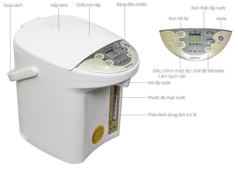 Bình thủy Toshiba PLK-45SF(WT)VN 4.5 lít