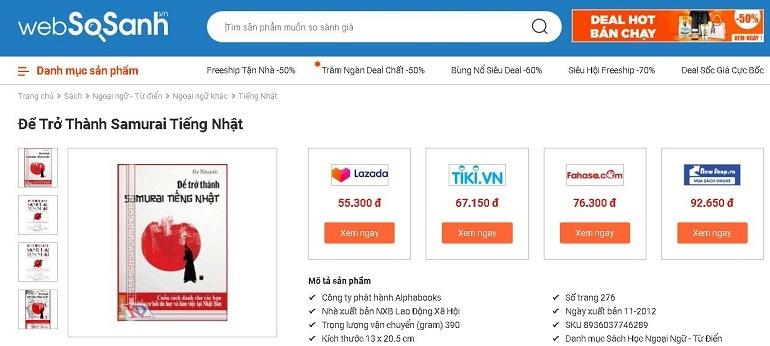 So sánh giá sách tiếng Nhật tại Websosanh.vn để tìm được các nơi bán sách bạn muốn tìm một cách nhanh nhất.