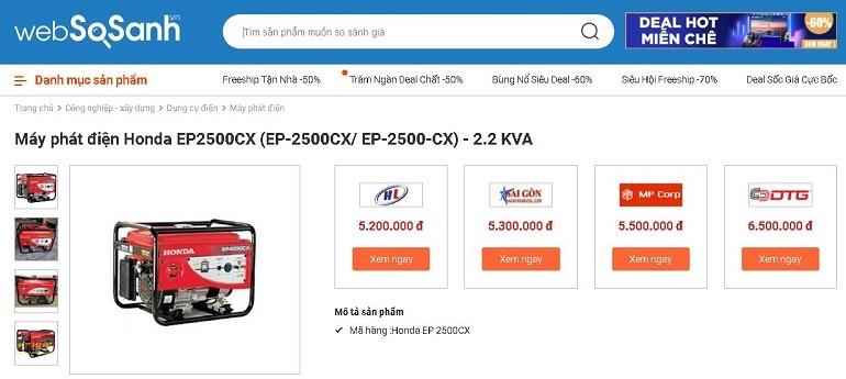 So sánh giá thiết bị công nghiệp - xây dựng tại Websosanh.vn