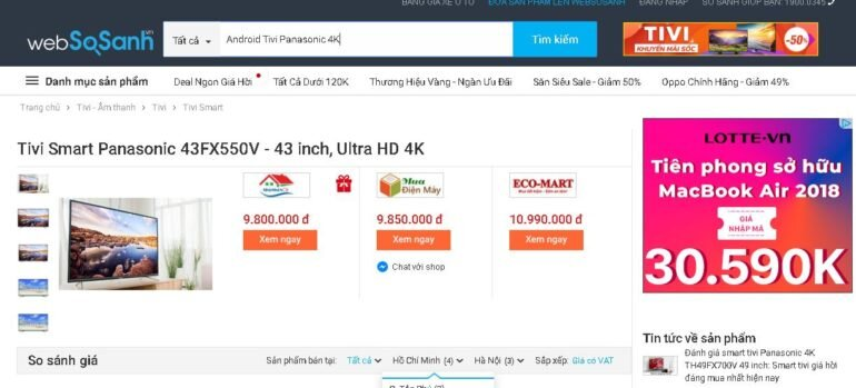 GiáAndroid Tivi Panasonic 4K bao nhiêu tiền ?