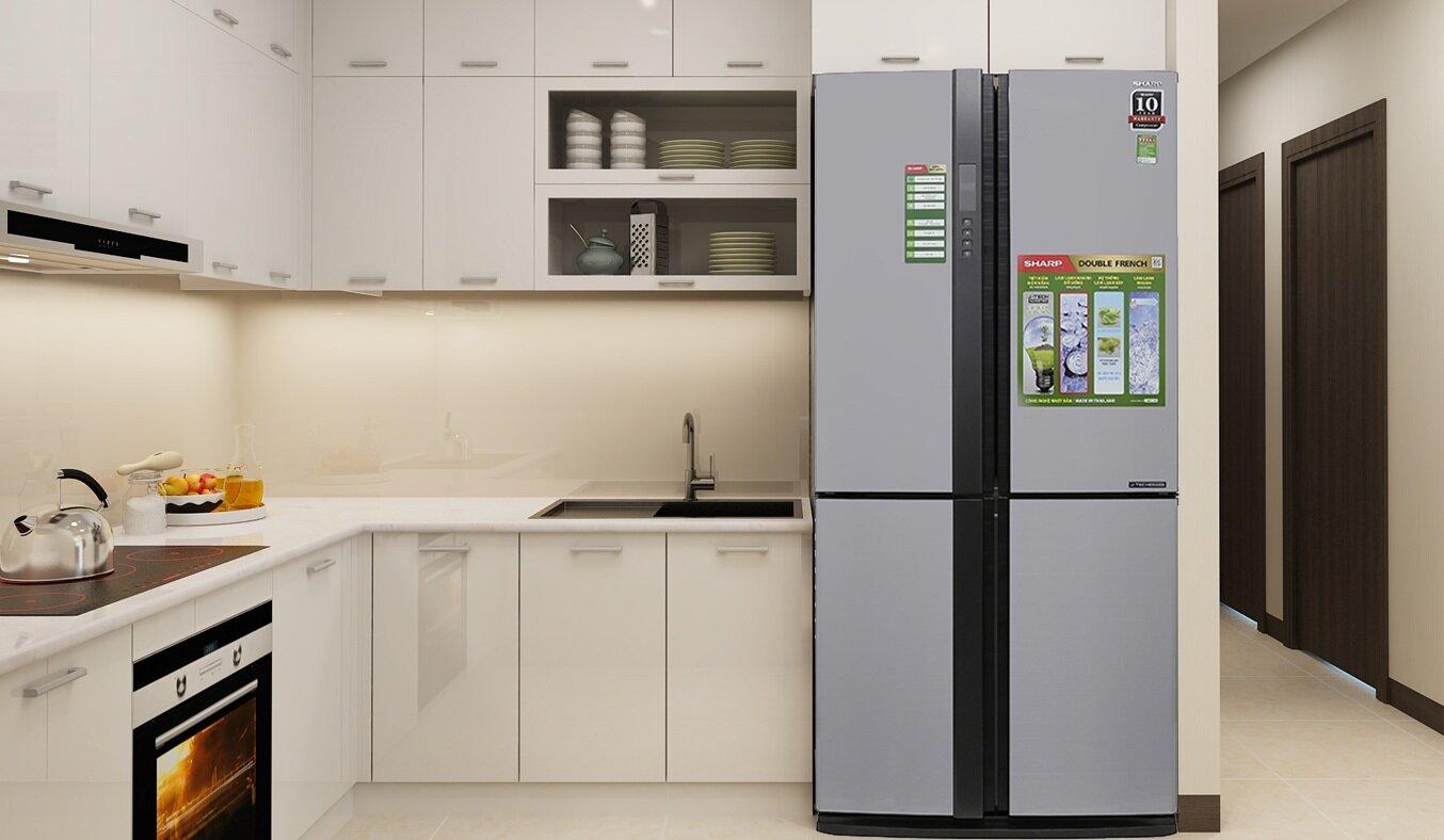 Tủ lạnh Sharp SJ-FX631V-SL được thiết kế cửa tủ 4 cánh side by side vô cùng tinh tế