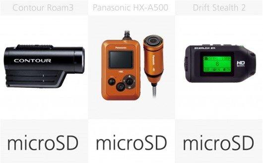 Action camera storage media comparison (row 2)