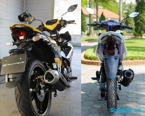 Bánh béo trên Yamaha Exciter 150 trông hầm hố như trên xe mô tô phân khối lớn