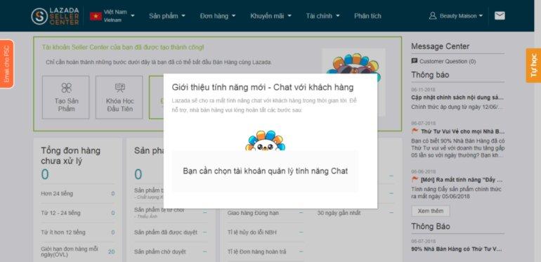 chọn tài khoản quản lý tính năng chat