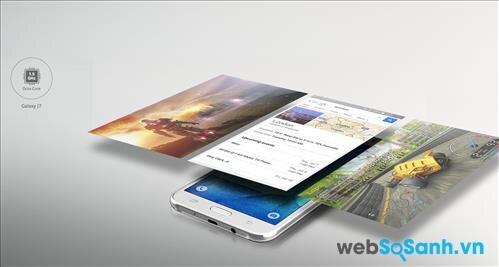 Điện thoại Galaxy J7 sử dụng bộ vi xử lý 8 nhân Snapdragon 615 của Qualcomm