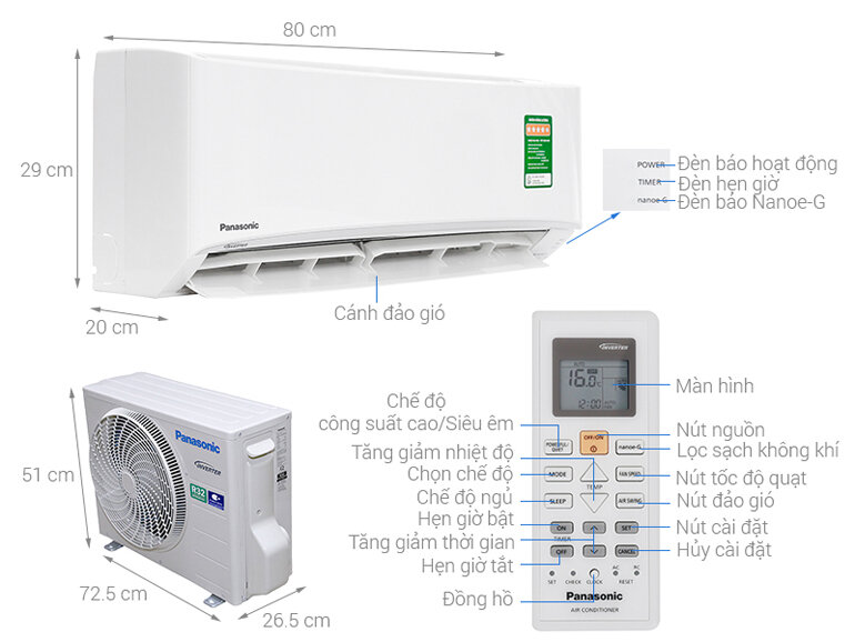 điều hòa panasonic inverter 1 hp cu cs-pu9uk8