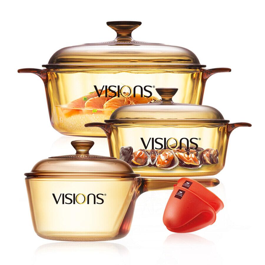 Bộ 3 nồi thuỷ tinh Corning VISIONS VS-1222P15MIT
