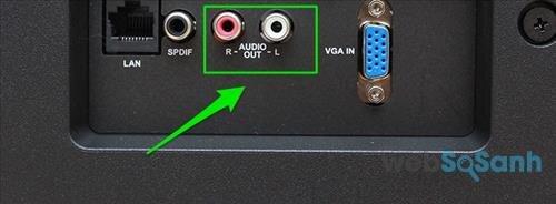 Kết nối tivi với amply qua dây cáp AV với hai cổng màu đỏ và trắng