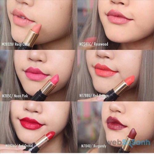 Son hiện có 10 màu, đây là 1 số màu cơ bản của dòng son lì Clematis Potpourri Lipstick