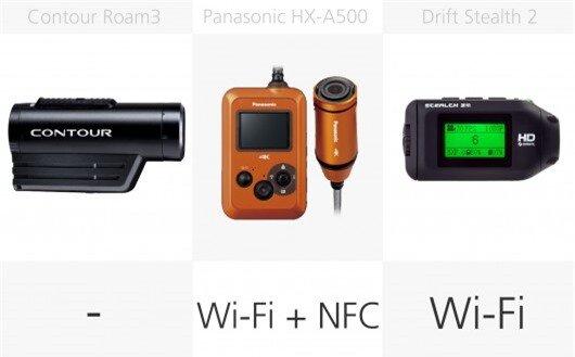 Action camera wireless comparison (row 2)