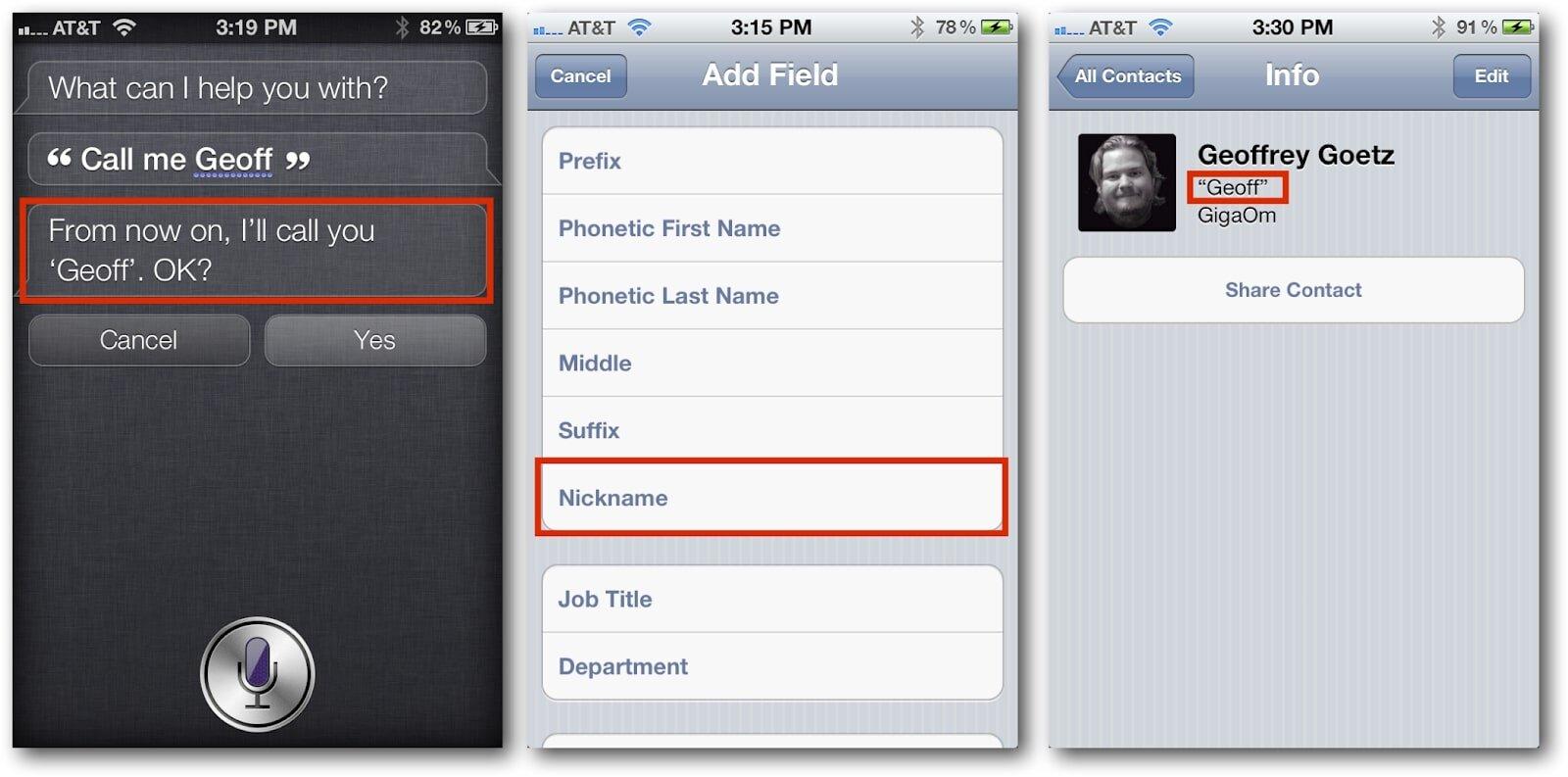 Tính năng đặt tên biệt danh bằng iPhone Siri