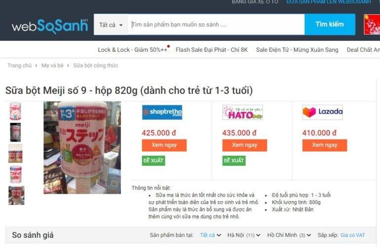 Sữa Meiji nội địa Nhật giá bao nhiêu?