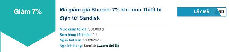 Shopee 7% khi mua Thiết bị điện tử Sandisk
