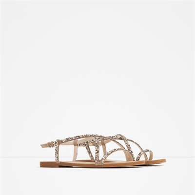 Image 2 of STRAPPY SANDALS WITH GEM DETAIL from Zara