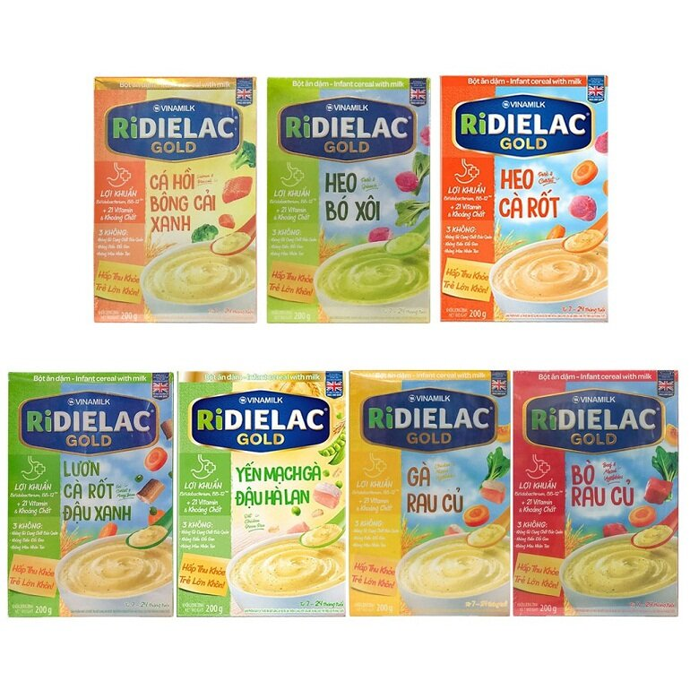 Bột ăn dặm Ridielac có nhiều loại và hương vị khác nhau