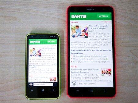 Khi lướt web, Lumia 1320 chưa tối ưu được giao diện hiển thị mà chỉ phóng to hơn so với Lumia 620.