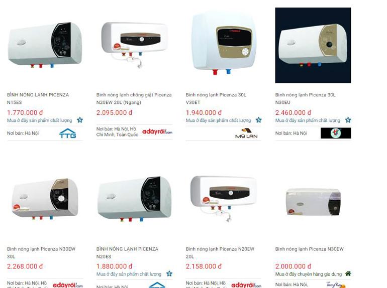 Bình nóng lạnh Picenza có giá cả cạnh tranh trên thị trường