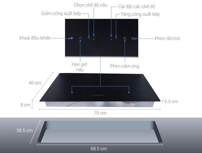 Kích thước và cấu tạo bếp đôi điện từ hồng ngoại Sunhouse SHB9104MT