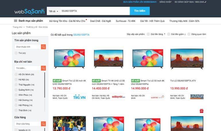 vào Websosanh.vn rồi check giá emSmart Tivi LG 4K 55 inch này thì thấy ngay đề xuất Tiki bán 13,7 triệu chênh lệch khoảng 4,2 triệu