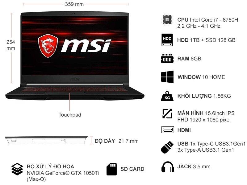 Laptop MSI GF63 8RD