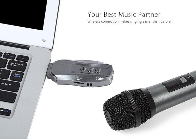 Micro Karaoke không dây Excelvan kết nối với máy tính