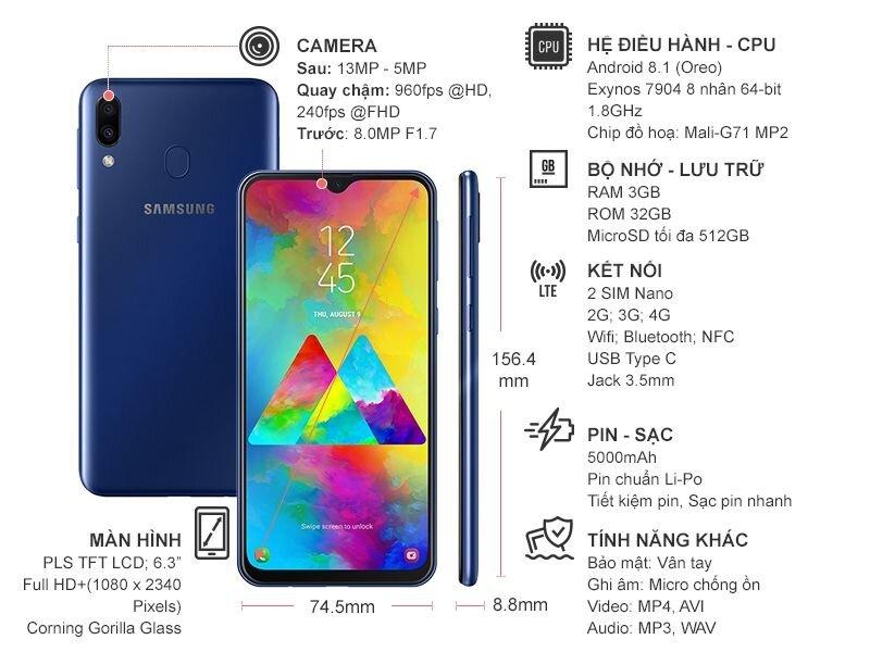Thông số kỹ thuật, cấu hình Samsung Galaxy M20