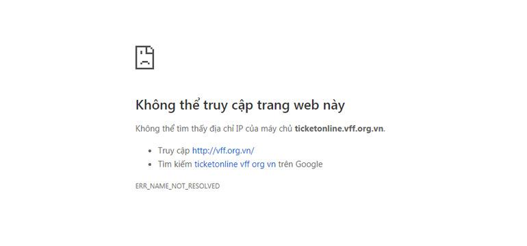 Không thể truy cập vào một số website bán vé