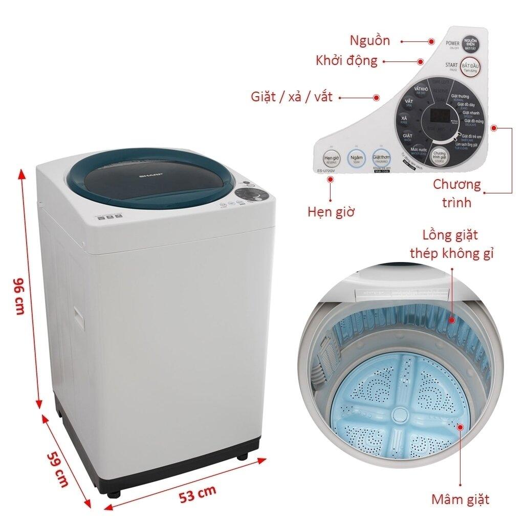 Máy giặt lồng đứng Sharp ES-U72GV-G, 7.2kg