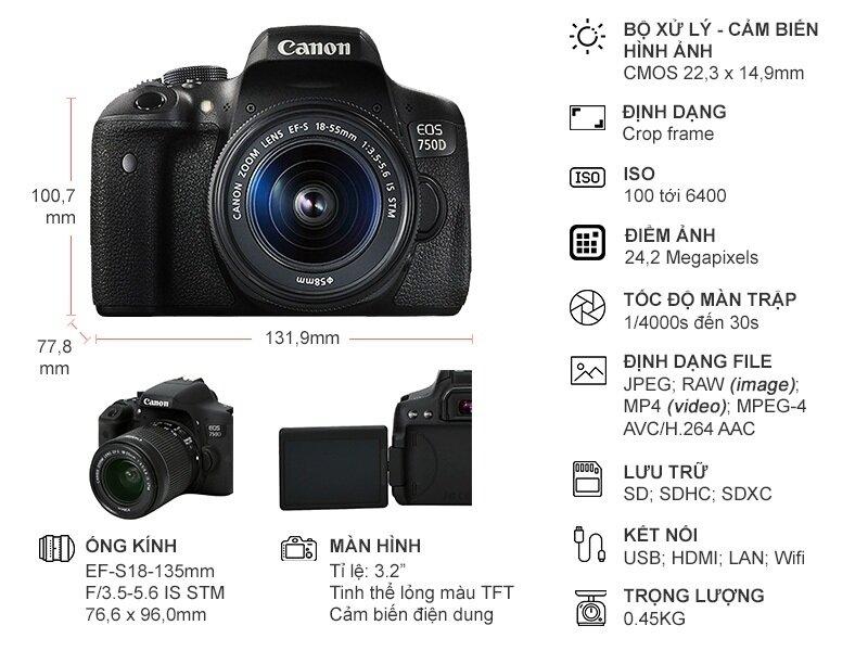 Thông số kỹ thuật khá ấn tượng của máy ảnh Canon EOS 750D