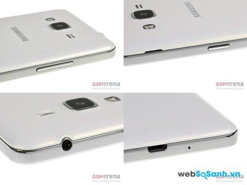 Bố trí nút vật lý và jack cắm trên Samsung Galaxy Grand Prime Nguồn Internet