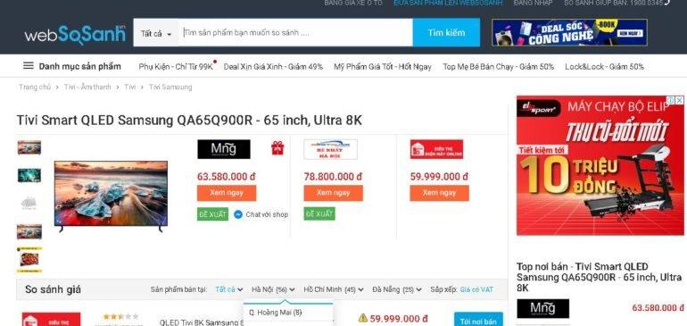 Smart Tivi QLED Samsung 8K 65 inch QA65Q900R