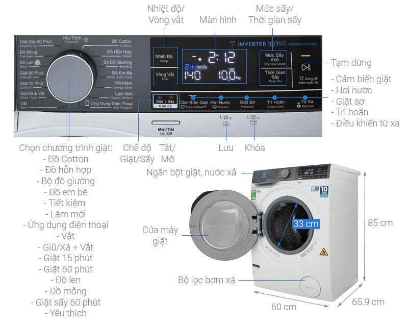 Máy giặt sấy Electrolux EWW1042AEWA, 10kg, Inverter hiện đại giúp giặt quần áo sạch sẽ