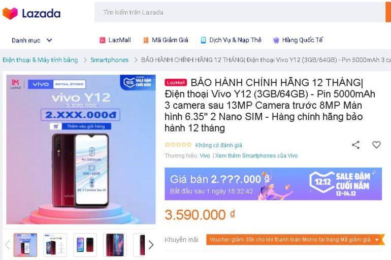 Điện thoại Vivo Y12 64GB - Giá giảm Siêu sale 12.12 chỉ còn 2.xxx.000 VNĐ