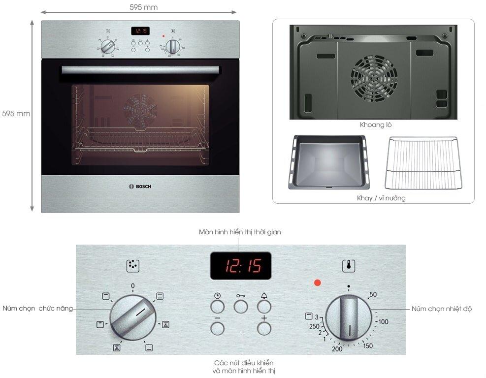 Lò nướng Bosch HMT72G650 dung Tích 18L cho bữa ăn nướng tuyệt vời hơn