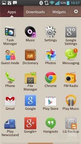 Ngăn kéo ứng dụng (app drawer icon) được chia thành 3 tab:
