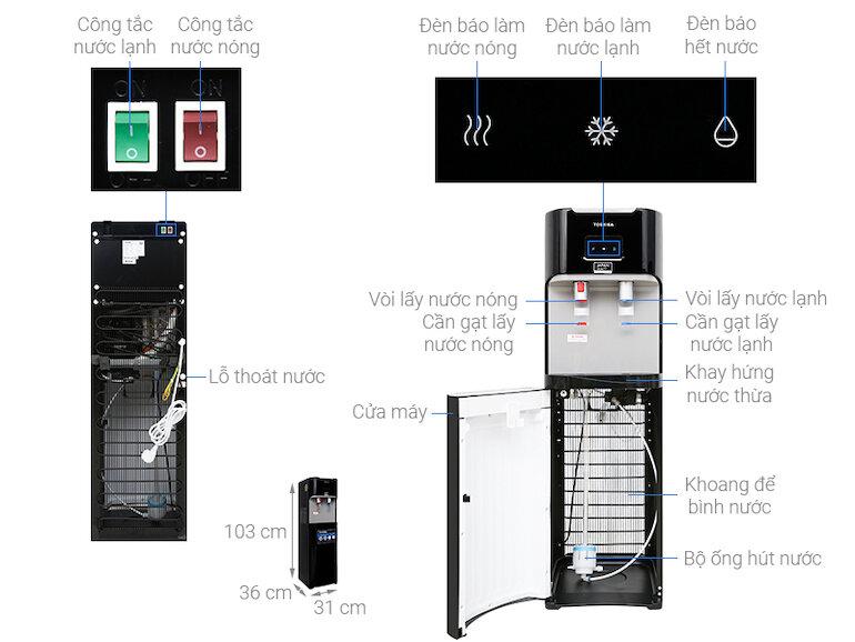 Cây nước nóng lạnh bình đặt dưới Toshiba RWF-W1669BV(K1)