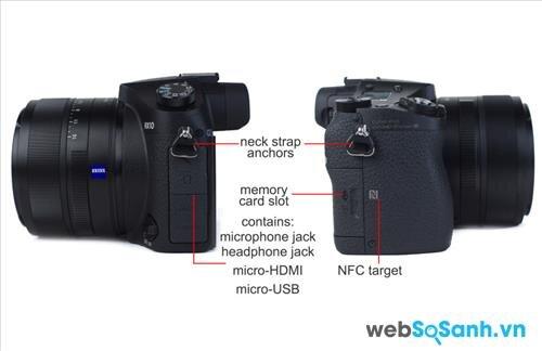 Các tính năng khác của máy ảnh du lịch siêu zoom Cybershot DSC-RX10 như có hỗ trợ chế độ chụp ảnh định dạng thô, tích hợp kết nối wifi và kết nối NFC
