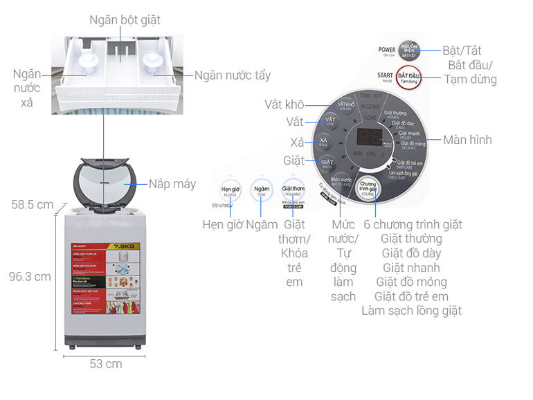 máy giặt Sharp 7.8 kg ES-U78GV-H phù hợp cho 4 - 5 người